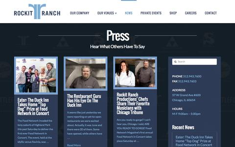 Screenshot of Press Page rockitranch.com - Rockit Ranch in the News - Rockit Ranch Productions - captured Oct. 7, 2014