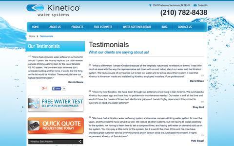 Screenshot of Testimonials Page kineticosa.com - Testimonials -  Kinetico San Antonio - captured Oct. 6, 2014