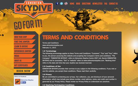 Screenshot of Terms Page edmontonskydive.com - Terms and Conditions | Edmonton Skydive - captured Sept. 29, 2014