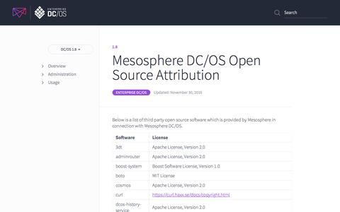 Mesosphere DC/OS Open Source Attribution - Mesosphere DC/OS Documentation