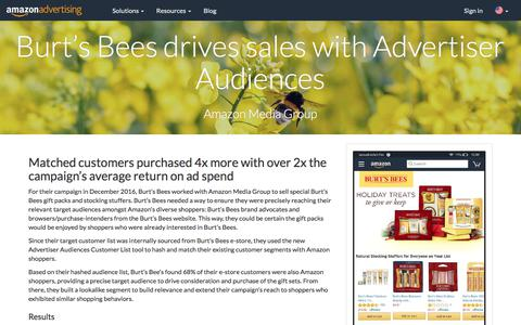 Screenshot of Case Studies Page amazon.com - Burt's Bees drives sales with Advertiser Audiences - Amazon Advertising - captured June 29, 2018