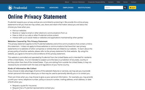 Privacy Statement | Prudential Financial