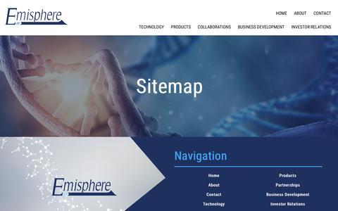 Screenshot of Site Map Page emisphere.com - Sitemap - Emisphere Technologies - captured Nov. 1, 2017