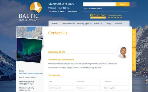 Screenshot of Contact Page baltictravelcompany.com - Contact | Baltic Travel Company - captured Nov. 6, 2018
