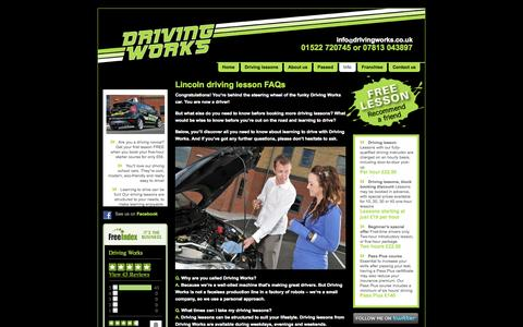 Screenshot of FAQ Page drivingworks.co.uk - Driving lesson FAQs with Driving Works - captured Oct. 27, 2014