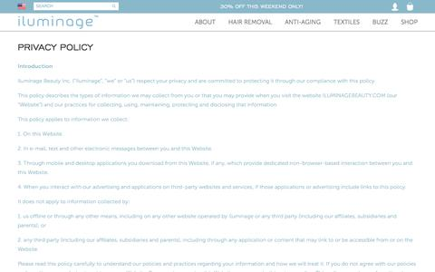 Screenshot of Privacy Page iluminagebeauty.com - Privacy Policy | iluminage Anti-aging & Hair Removal Systems - captured Nov. 26, 2016