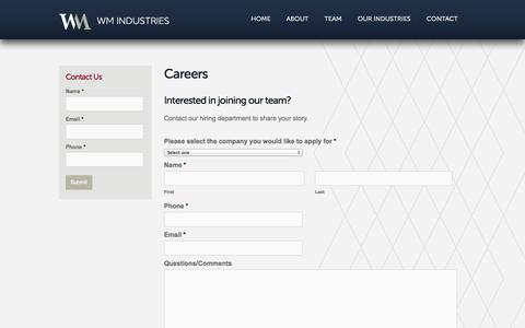 Screenshot of Jobs Page wmcorporate.com - Careers | Product Development Company | Manufacturing Company - captured Oct. 26, 2014