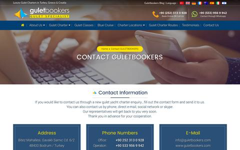Screenshot of Contact Page guletbookers.com - GULETBOOKERS - Get A Quote for A Gulet Charter & Cruises - captured May 22, 2019