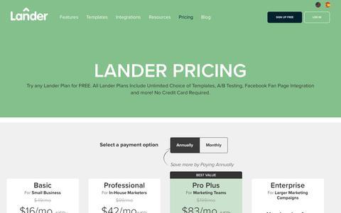 Screenshot of Pricing Page landerapp.com - Lander Pricing: 14 Day Free Trial. Easy Editor, No IT Skills Needed. - captured Feb. 20, 2018