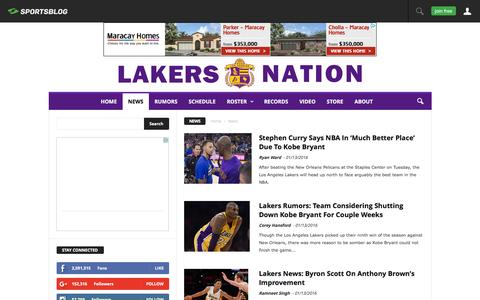Screenshot of Press Page lakersnation.com - News Archives - Lakers Nation - captured Jan. 13, 2016