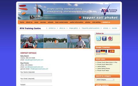 Screenshot of Contact Page toppersailphuket.com - contact us   Topper Sail Phuket - captured Oct. 1, 2014
