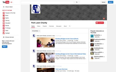 Screenshot of YouTube Page youtube.com - Park Lawn Charity  - YouTube - captured Nov. 1, 2014
