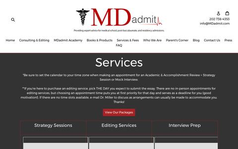Screenshot of Services Page mdadmit.com - Services                      – MDadmit - captured May 26, 2017