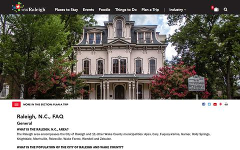 Screenshot of FAQ Page visitraleigh.com - Frequently Asked Questions About Raleigh, N.C. - captured Sept. 22, 2018