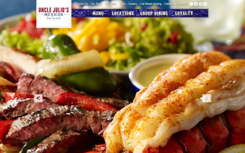 Screenshot of Home Page unclejulios.com - Uncle Julio's Mexican Restaurants - Fine Mexican Food - captured Feb. 4, 2016