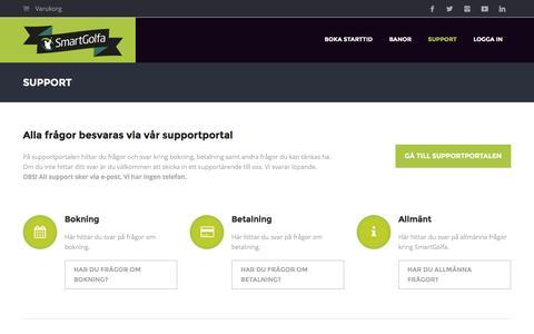 Screenshot of Support Page smartgolfa.se - Supportportalen - Här får du snabb hjälp med alla frågor kring ditt medlemskap hos SmartGolfa. - captured Feb. 22, 2016