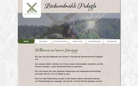 Screenshot of Home Page usedom-bockwindmuehle-pudagla.de - Bockwindmühle Pudagla | Home - captured June 9, 2016