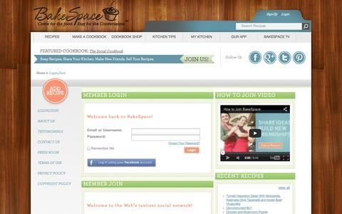 Screenshot of Signup Page bakespace.com - Login / Join - BakeSpace.com - captured Oct. 31, 2014