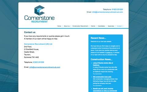 Screenshot of Contact Page cornerstoneconstructionrecruitment.co.uk - Contact Cornerstone Recruitment | Construction and Building Taunton Somerset - captured Oct. 3, 2014