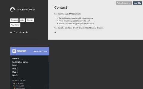 Screenshot of Contact Page linceworks.com - LINCE WORKS - captured July 20, 2018