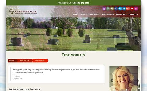 Screenshot of Testimonials Page cloverdalefuneralhome.com - Testimonials | Cloverdale Funeral Home and Memorial Park | Boise, ID & Meridian, ID - captured Aug. 6, 2017