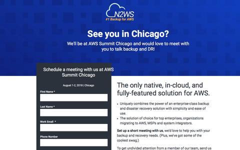 Screenshot of Landing Page n2ws.com - Meet N2WS at AWS Summit Chicago - captured Sept. 19, 2018
