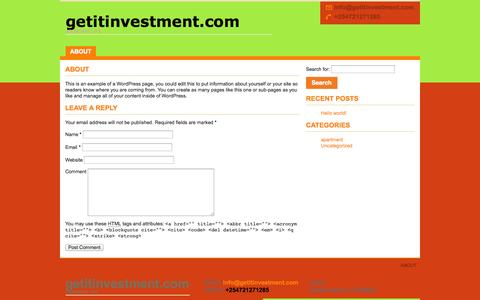Screenshot of About Page getitinvestment.com captured Oct. 2, 2014