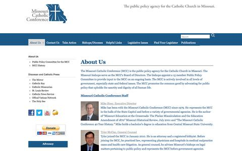 Screenshot of About Page mocatholic.org - About Us » Missouri Catholic Conference - captured Oct. 26, 2014