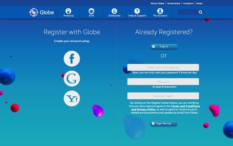 Screenshot of Signup Page globe.com.ph - GLOBE - captured Sept. 18, 2014