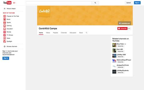 Screenshot of YouTube Page youtube.com - CentriKid Camps  - YouTube - captured Oct. 30, 2014