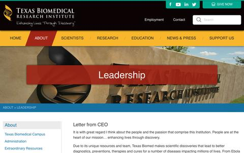 Screenshot of Team Page txbiomed.org - Leadership - Texas Biomedical Research Institute - captured Dec. 1, 2016