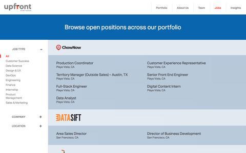 Screenshot of Jobs Page upfront.com - Jobs | Upfront Ventures - captured Dec. 5, 2016