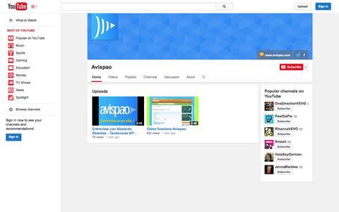 Screenshot of YouTube Page youtube.com - Avispao  - YouTube - captured Oct. 23, 2014