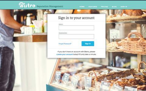 Screenshot of Login Page bistro.is - Bistro   Reputation Management for Restaurant Owners - captured Sept. 30, 2014