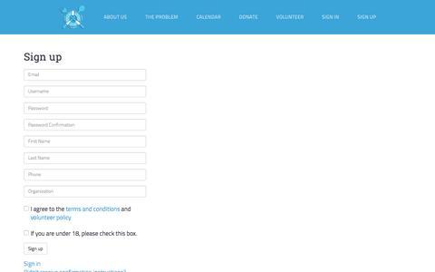 Screenshot of Signup Page rescuingleftovercuisine.org - Rescuing Leftover Cuisine - captured Feb. 25, 2016