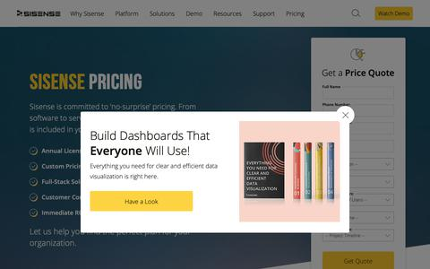 Screenshot of Pricing Page sisense.com - Pricing for Business Intelligence & Analytics Software   Sisense - captured April 25, 2019