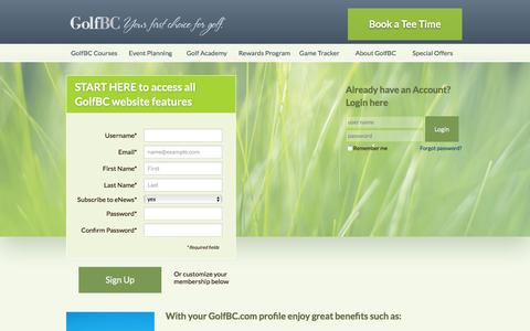 Screenshot of Login Page golfbc.com - Register to access GolfBC website features - captured Jan. 31, 2016