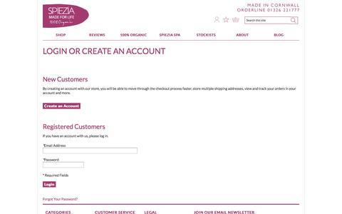 Screenshot of Login Page spieziaorganics.com - Customer Login | Spiezia Organics - captured Sept. 23, 2014