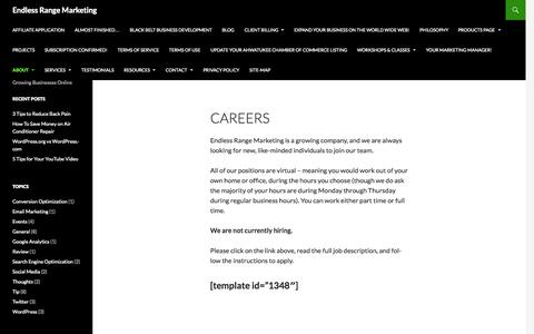 Screenshot of Jobs Page endlessrangemarketing.com - Careers | Endless Range Marketing - captured Oct. 9, 2015