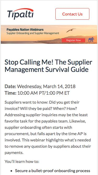 Stop Calling Me! The Supplier Management Survival Guide
