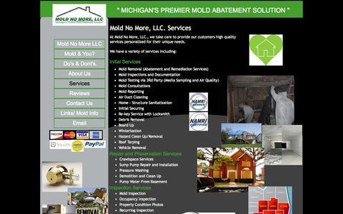 "Screenshot of Services Page moldnomorellc.com - \"" Michigans Premier Mold Abatement Soultion \"" Mold No More, LLC. - captured Oct. 7, 2014"