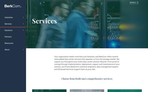 Screenshot of Services Page berkcom.com - BerkCom Data Center Services - captured Oct. 5, 2018