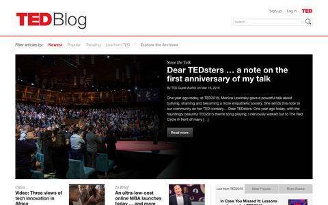 Screenshot of Blog ted.com - TED Blog: Further reading on ideas worth spreading - captured March 20, 2016