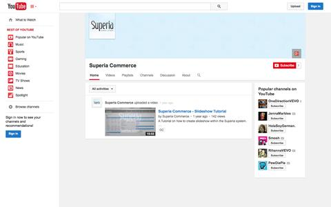 Screenshot of YouTube Page youtube.com - Superia Commerce  - YouTube - captured Oct. 25, 2014