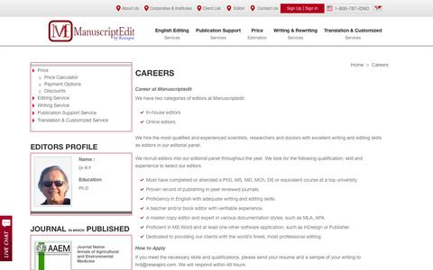 Screenshot of Jobs Page manuscriptedit.com - We recruit qualified editors into our editorial panel throughout the year - captured Sept. 19, 2014