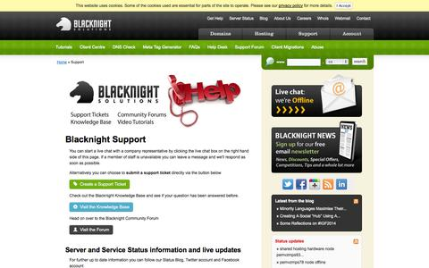 Screenshot of Support Page blacknight.com - Technical Hosting Support - Customer Service Blacknight Solutions - captured Sept. 18, 2014