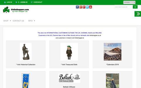 Screenshot of Home Page irishshopper.com - Irish Gifts from Ireland, irishshopper.com - captured Oct. 12, 2018