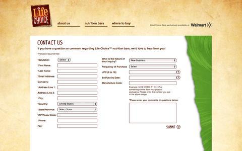 Screenshot of Contact Page lifechoicefoods.com - Contact Us - Life Choice™ - captured Nov. 3, 2014