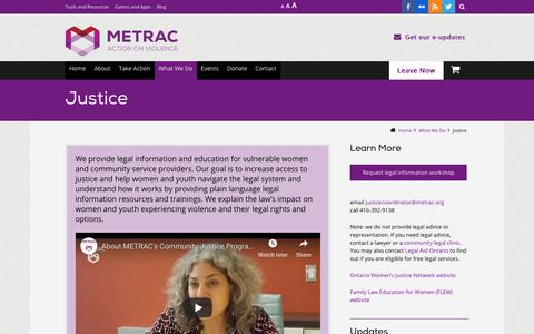 Screenshot of Terms Page metrac.org - Justice - captured Nov. 5, 2018