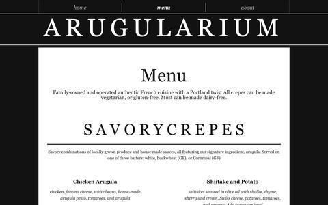Screenshot of Menu Page arugularium.com - arugularium | menu - captured Oct. 21, 2018